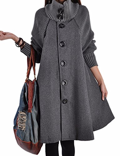 Sexyshine Women's Mid Long Length Single Breasted Cowl High Neck Loose Button Down Woolen Cloak Coat Jakect(GY,XL) Grey ()