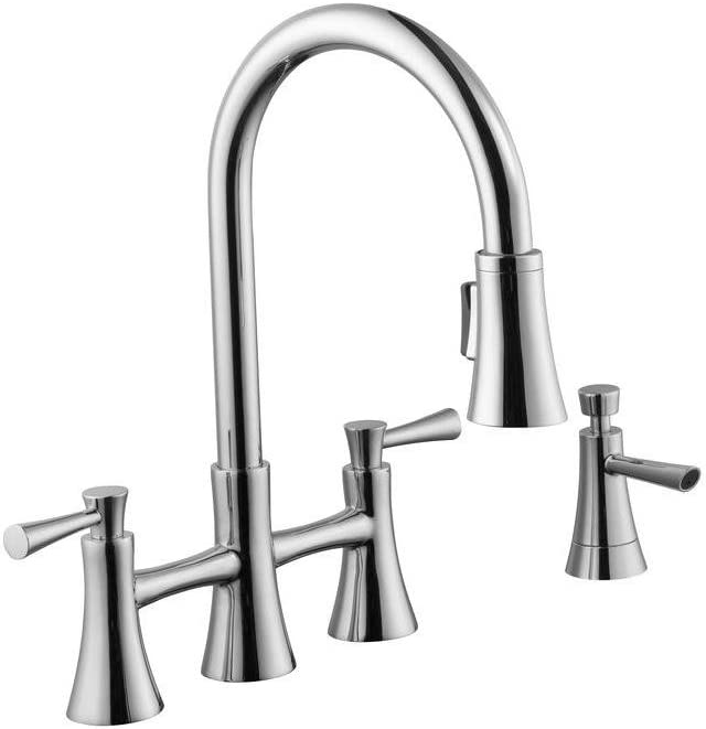 Schon 67065-0101 925 Series 2-Handle Pull-Down Bridge Sprayer Kitchen Faucet with Soap Dispenser, Chrome