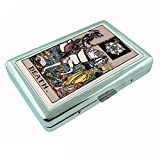 Tarot Card Death S14 Silver Cigarette Case Metal Wallet Id Holder 4'' X 2.75'' RFID Protection
