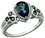 Sterling Silver 925 Ring LONDON BLUE TOPAZ 2.09 Carats with RHODIUM-PLATED Finish