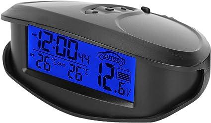 Term/ómetro EC98 LED Digital Coche Autom/óvil Term/ómetro Volt/ímetro Indicador de Voltaje con Funci/ón de Tiempo