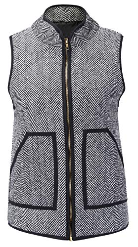 - Vocni Women's Stand Collar Lightweight Zip Quilted Vest Herringbone Puffer Vest Sleeveless Padded Jacket Vest Black US L/Asia Tag 3XL