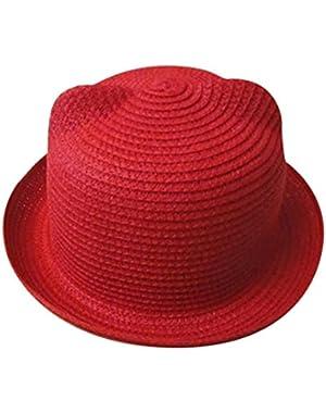 Toddler Baby Boys Girls Sun Hat Super Cute Bear Ear Straw Hat Floppy Foldable Roll Up Beach Cap 2-6 Years (Red)