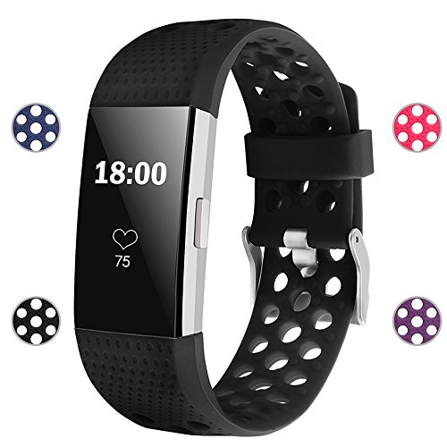 iGK Silicone Replacement Bands Compatible for Fitbit Charge 2, Adjustable Breathable Sport Strap Smartwatch Fitness Wristband with Air Holes All Black Small