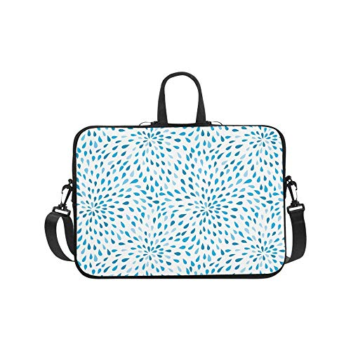 Blue Raindrops in Dahlia Flowers Design Laptop Sleeve Shoulder Bag with Handle & Strap, Notebook Computer Carrying Bag 17 17.3 Inch for MacBook Dell HP Acer Woman Man