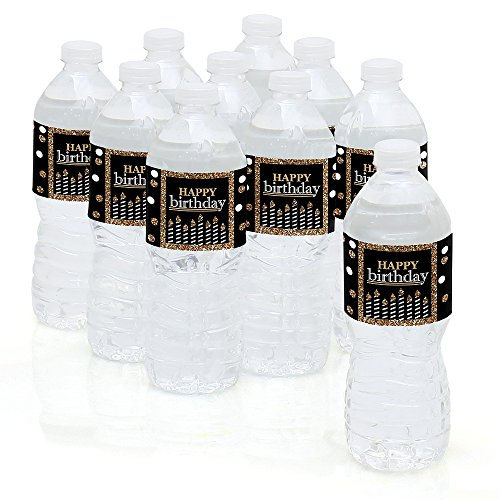 Adult Happy Birthday - Gold - Birthday Party Water Bottle Sticker Labels - Set of 10 White Dots Water Bottle
