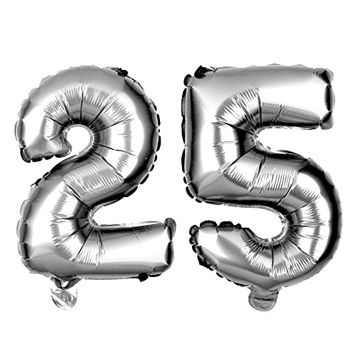 Ella Celebration Non-Floating 25 Number Balloons 25th Birthday Party Supplies Silver Decorations Small 13 inch (Silver) -