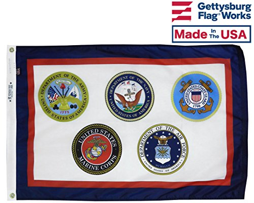 US Armed Forces Flag 3x5 All Military Branches Nylon Made in the USA