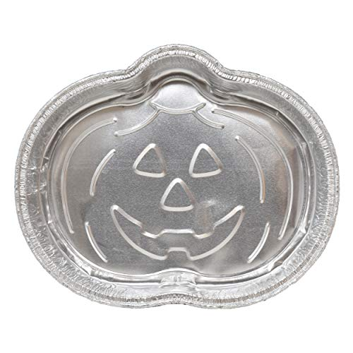Easy Cheap Homemade Halloween Decorations (12 Jack O'Lantern Pumpkin Shaped Baking Pans Disposable Aluminum Foil Cake Pan Mold Festive halloween Specialty Novelty Bakeware For Baking and Decorating Supplies Party)
