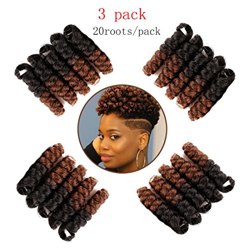 (Queentas 3 pack 10 inch Bounce African Collection Crochet Braiding Hair Carrie Curl(8mm) Synthetic Hair Extension (Natural)