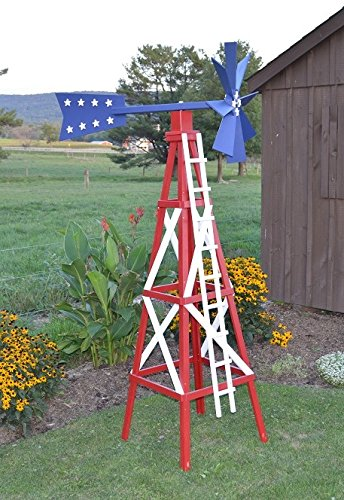 Amish Made Working Farm Style Windmill Yard Decoration 82u0026quot; Tall,  Patriotic Paint
