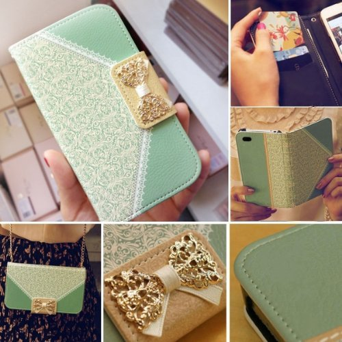 Bow Lace Fashion Wallet Flip Feature with Credit/id Card Slots/holder&strap PU Leather Bling Case Cover For Smart Mobile Phones 2 (Motorola Droid Mini XT1030)