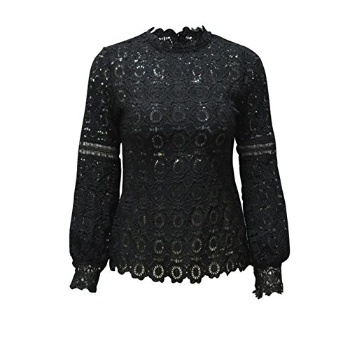 - MUYAOO Women's Tops T-Shirt Lace Blouse Ladies Long Sleeve Casual Shirt Black L