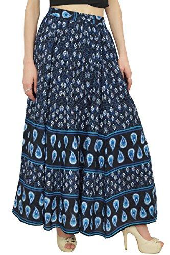 imprime bloc Taille femmes elastique en pour Bimba coton d'ete Marine a Jupes Jupe Bleu cwTHqSg
