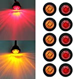""""""" Purishion 10x 3/4"""""""" Round LED Clearence Light Front Rear Side Marker Indicators Light for Truck Car Bus Trailer Van Caravan Boat, Taillight Brake Stop Lamp 12V (5 Amber+5 Red)"""