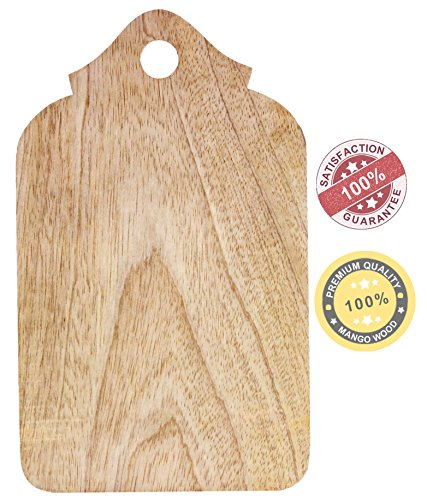 """SouvNear 9.5"""" Wood Chopping Board - Non Slip Wooden Cutting Boards with Handle for Slicing Cheese Bread Lemon Fruit Veggies - Natural Non-Toxic and Food Safe - Dinner Decor"""