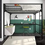 DHP Miles Metal Full Loft Bed with Desk, Black