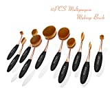 Docolor Oval Makeup Brushes Set with Cleaner Tools (Golden Update,10Pcs)