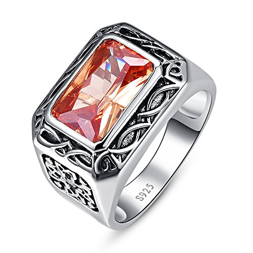 BONLAVIE Men's 925 Sterling Silver Rings Band with Emerald Cut Created Morganite and Cubic Zircon Size 7 Fine Mens Ring