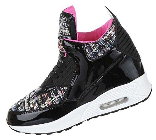 Damen Schuhe Sneakers Halbschuhe Trendige High Sneakers High Top Sneaker Schwarz