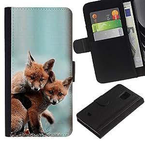 EuroCase - Samsung Galaxy S5 Mini, SM-G800, NOT S5 REGULAR! - Cute Baby Fox Friends - Cuero PU Delgado caso cubierta Shell Armor Funda Case Cover