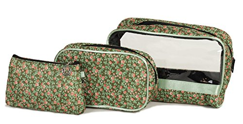3 Piece Vintage Floral Cosmetic Bag/Purse Set - ideal gift! (BZ4138 GREEN)