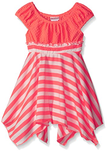 Youngland Little Girls Crochet Lace To Jersey Striped Knit Dress, Coral/White, 3