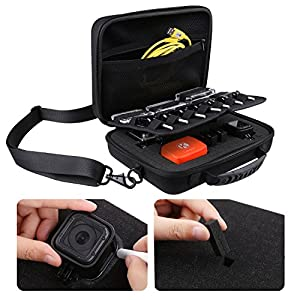 picture of CamKix Large Case Compatible with GoPro Hero 8 Black, 7, 6, Fusion, 5, Black, Session, Hero 4, Session, Black, Silver, Hero+ LCD, 3+, 3 and DJI Osmo Action with Shoulder Strap - Customizable