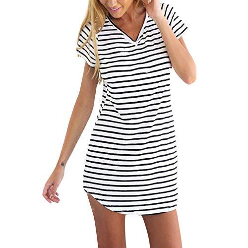 iZHH New Women Crew Neck Short Sleeve Striped Loose T-Shirt Mini Dress(White,XS(US)) -