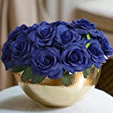 PARTY JOY Artificial Silk Rose Flower Heads Fabric Floral DIY For Wedding Home Flower Wall Decor (20, Royal blue&Leaves)