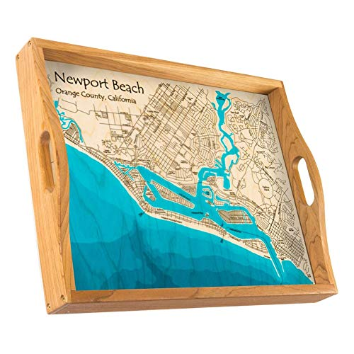 - Lake Merritt - Alameda County - CA - Multicolor Serving Tray 14 x 18 in - Multicolor Print Nautical Chart and Topographic Depth map.