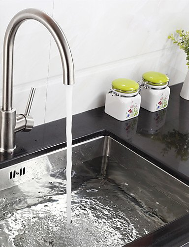 NWMTF 0.5 Deck Mounted Single Handle One Hole Kitchen Faucet With Swivel Spout Stainless Steel K40CF18SS