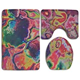 Tie-dye Colorful Multicolor Accessories Bathroom Rugs Set NonSlip Bath-rugs Anti Mite Lid Toilet Cover And Bath Mat