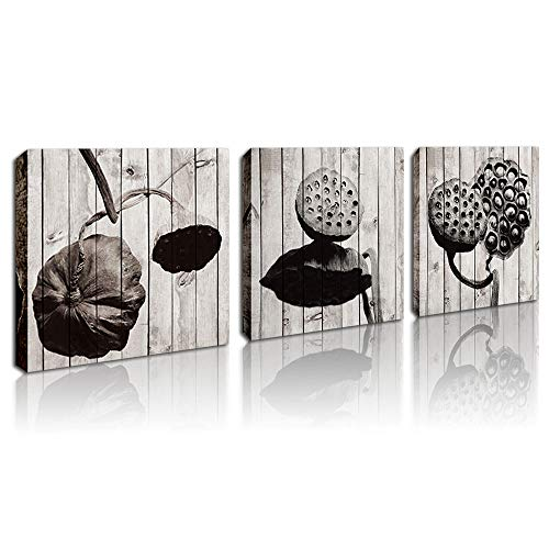 Wall Art Picture Black and White Lotus Modern Giclee Canvas Prints Stretched Super Peace Artwork Abstract Zen Pictures Natural Dried Lotus Pods for Living Room Home Walls Decor