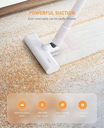 Vacuum Cleaner Cordless for Pet Hair, Car, Stick Wireless Handheld HEPA Vacuum Cleaning Device Tangle-Free on Hard Floor Carpet, 400W 19KPa Powerful Suction Japanese Aesthetic, OPOVE Coinit