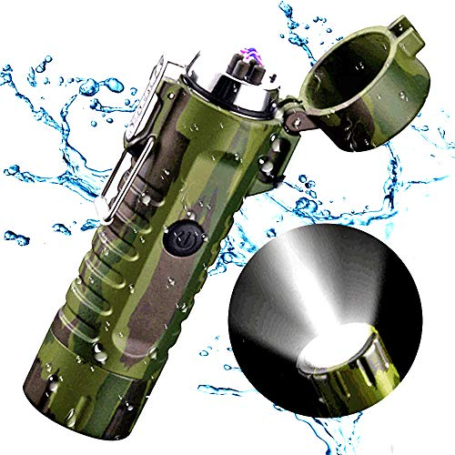 Waterproof Lighter, Outdoor Windproof Lighter Flashlight, USB Rechargeable Dual Arc Lighter, Flameless and No Butane Electronic Plasma Lighter for Camping Hiking (Camouflage)