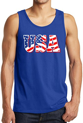 New York Fashion Police USA Tank Top Flag Letter July 4th American Flag Workout Shirt Roy S ()