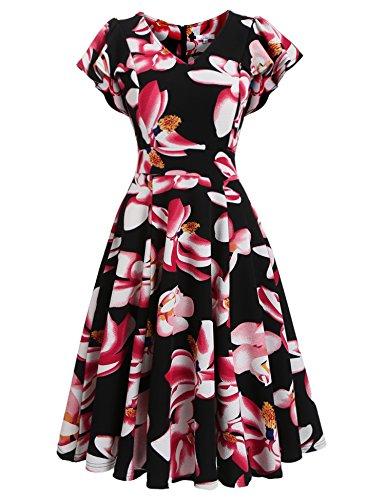 Beyove Womens V-neck A Line Swing Dress Summer Vintage Floral Flutter Short Sleeves