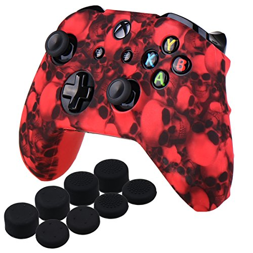 YoRHa Water Transfer Printing Skull Silicone Cover Skin Case for Microsoft Xbox One X & Xbox One S controller x 1(red) With PRO thumb grips x 8