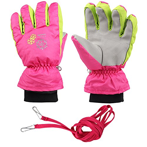 XTACER Boy's Girl's Kid's Ski Snow Gloves (Pink, S)