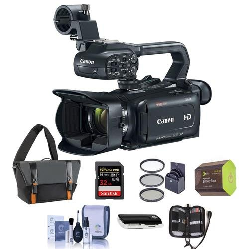 Canon XA11 Compact Professional Camcorder with HDMI, 20x HD Optical Zoom, Bundle with Video Bag, 32GB SDHC U3 Card, Spare Battery, 58mm Filter Kit, Cleaning Kit, Memory Wallet, Card Reader by Canon