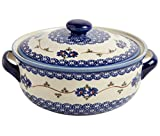 "Polish Pottery Blue Floral Chain Round Covered Serving Dish, 10""L x 8.5""W x 5.75""H w/ 60-oz Capacity"