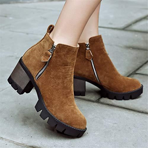 Botas Sandalette British con Confort Grande Botas Cremallera DEDE y Medio Lado Martin Mujer Martin Botas Camel Martin TzxrTU