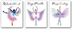 3 Set of Watercolor Ballet Dancers Inspirational Quote Wall Art Painting - Watercolor Elegant Dance Art Paintings - Canvas Art for Bedroom Dance Studio Living Room Decoration (Frameless,8×10inch)