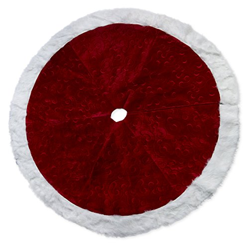 56 inch Red Velvet Embossed Design Plush Fabric Christmas Tree Skirt with Fur -