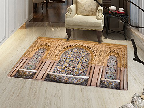 smallbeefly Moroccan Door Mat outside Typical Moroccan Tiled Fountain in the City of Rabat Near Hassan Tower Bathroom Mat for tub Non Slip Apricot Pale Brown by smallbeefly