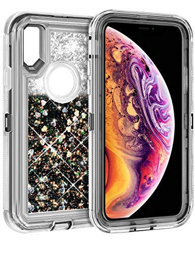 Coolden Case for iPhone Xs MAX Cases Protective Glitter Case for Women Girls Cute Bling Sparkle 3D Quicksand Heavy Duty Cover Hard Shell Shockproof TPU Case for 6.5 Inches iPhone Xs MAX, Black