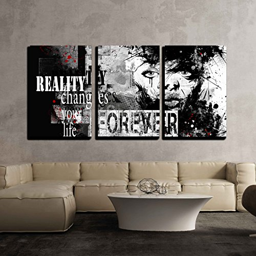 (wall26 - 3 Piece Canvas Wall Art - Modern Teenage Girl on Grunge Background. Grunge Style. Modern Generation. - Modern Home Decor Stretched and Framed Ready to Hang - 16