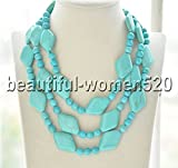Z7850 natural blue round rhombus turquoise bead Necklace 50inch