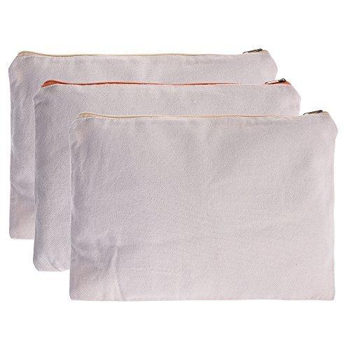 BCP 3-Pieces Multi-purpose A4 Size Cotton Canvas Zipper Document File Cosmetic Makeup Bag Pouch,DIY Fabric Bag 13x9.5 Inches